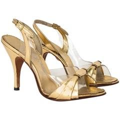 50s Gold Strap Heel