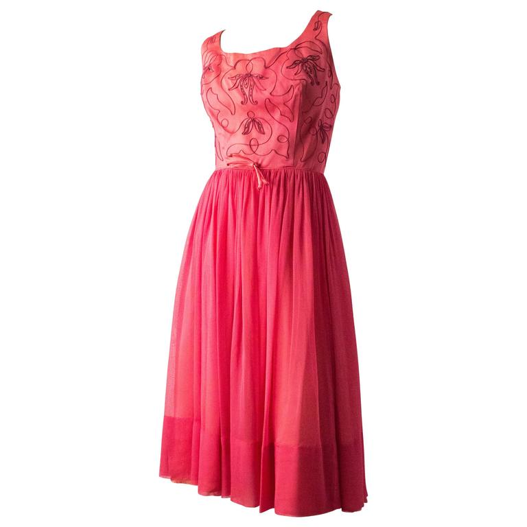 50s Pink Satin Embroidered Bodice Cocktail Dress