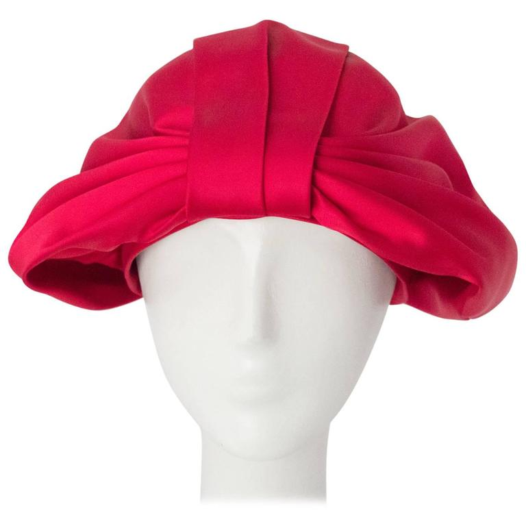 60s Pink Satin Bow Turban For Sale