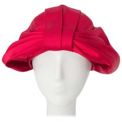 60s Pink Satin Bow Turban