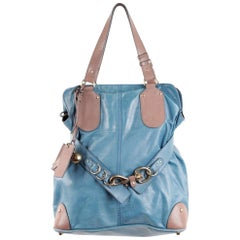 Chloe Turquoise and Taupe Leather Kerala Slouchy Tote Hand Bag
