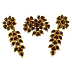 Gavilane Paris Vintage Bejeweled Dangling Earrings and Brooch Set