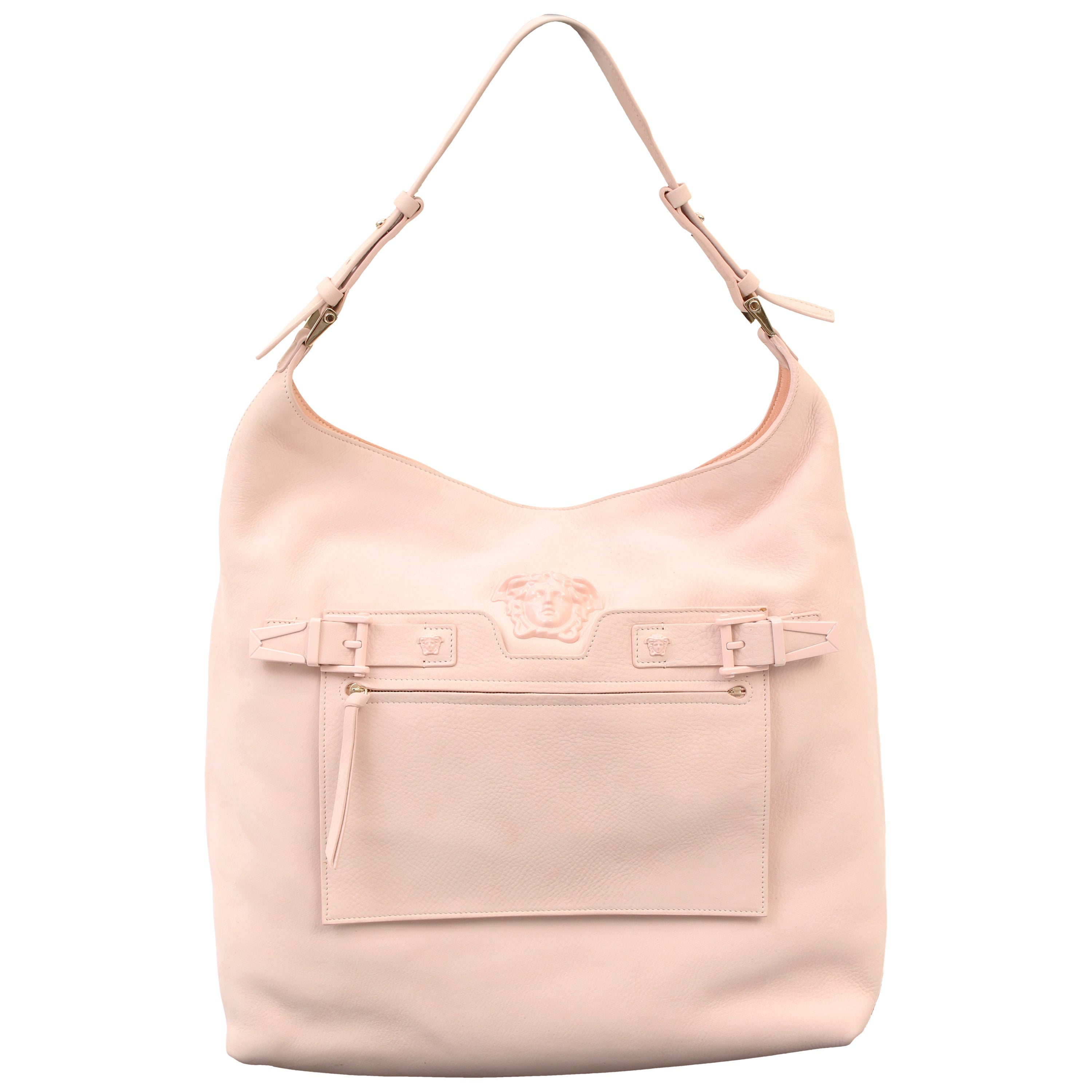 1860859106f New VERSACE PALAZZO OVERSIZED SHOULDER BAG IN POWDER PINK DEER LEATHER For  Sale at 1stdibs