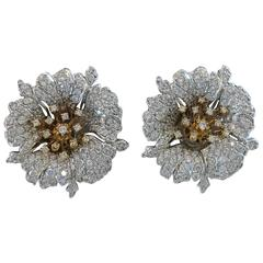 Jarin fabulous large floral rhinestone and gold sterling silver ear clips