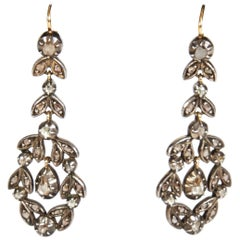 Antique Georgian Rose Cut Diamond Gold and Silver Pendant Earrings