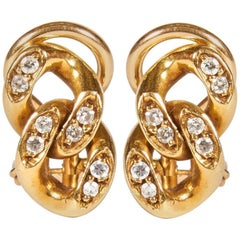 18K Gold with Diamonds Curb Link Earrings