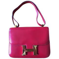 Hermes Authentic Red Calf Leather Constance Bag