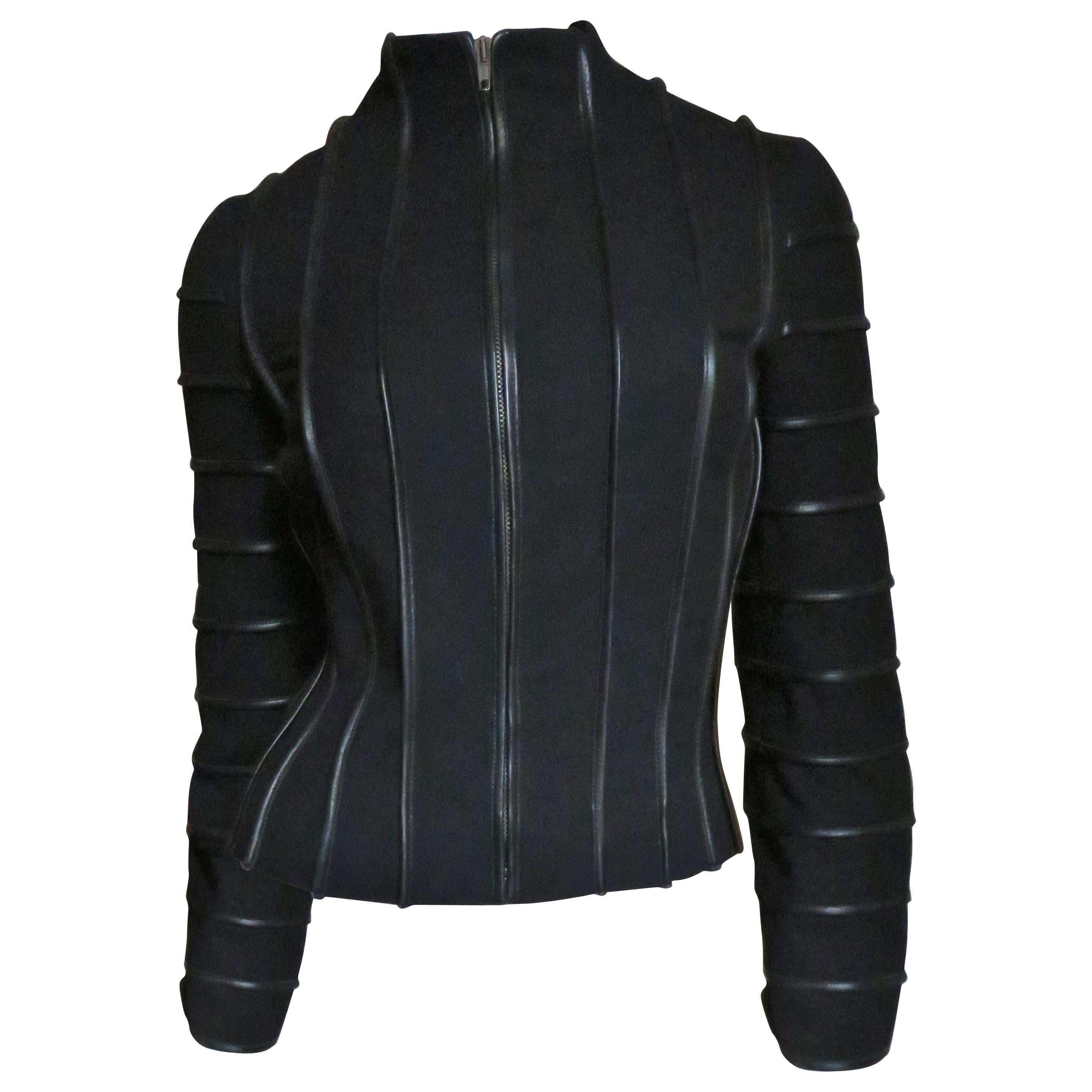 Moschino Wool Jacket with Leather Piping