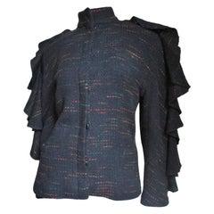 Krizia 1980s Ruffle Sleeve Jacket