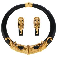 INNA CYTRINE Paris c.1990's Statement Gold Black Earrings Choker Necklace Set