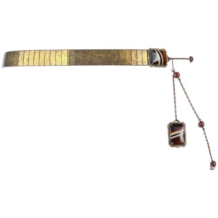 VICTORIAN REVIVAL c.1930's Bronze Mesh Floral Link Tiger's Eye Jeweled Belt
