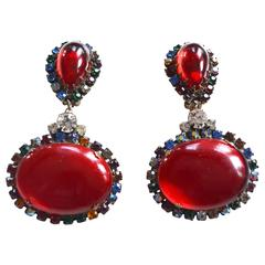 1960s KJL Red Oversized Rhinestone Earrings