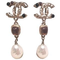 Chanel Silver CC logo Teardrop Pearl Dangle Earrings