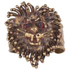 1970's Pal Kepenyes Brass Lion's Head Cuff