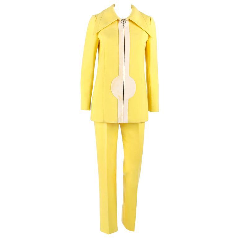 PIERRE CARDIN c.1960's 2 Piece Yellow Cream Mod Zip Front Jacket Pants Suit Set