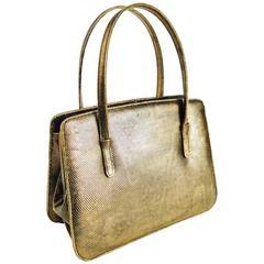 1960s Lederer de Paris Gold Lizard Frame Handbag