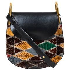 "Chloe NWT $3250 Black Green Maroon Leather Python ""Hudson"" Bag"