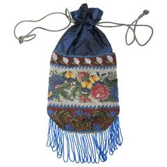 1920s Drawstring Multicolor Floral Steel Bag