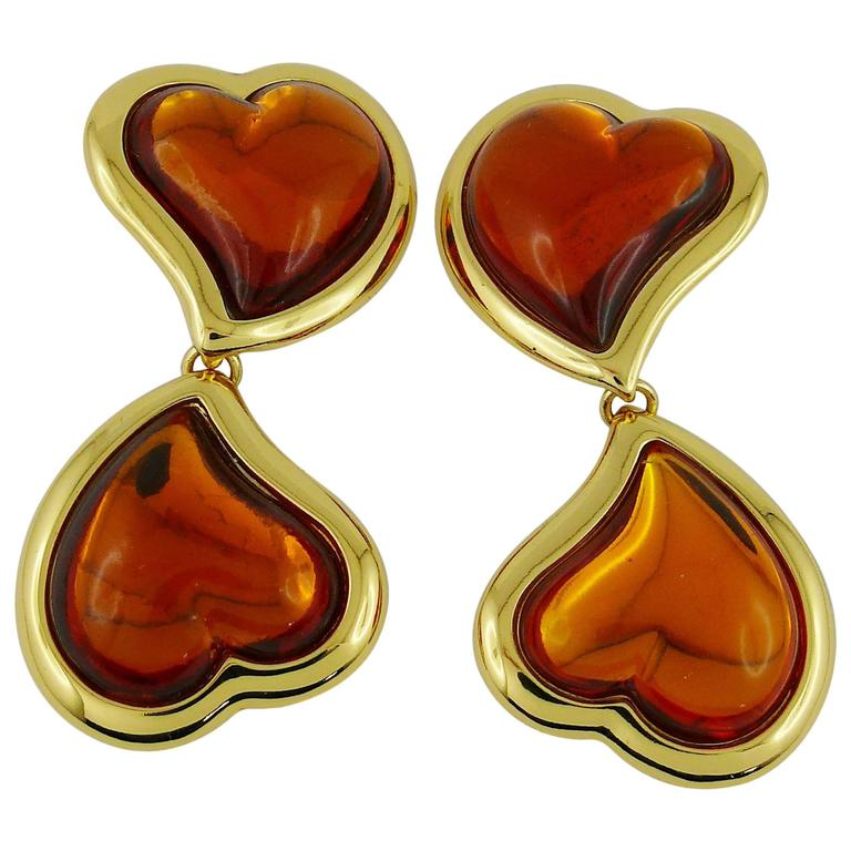 Yves Saint Laurent YSL Vintage Double Heart Dangling Earrings For Sale