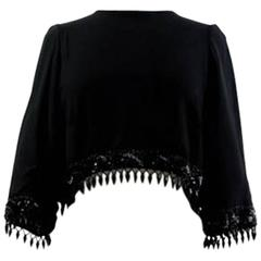 1960's  Bespoke Black Silk Crepe Crop Top Embroidered with Sequins & Beads