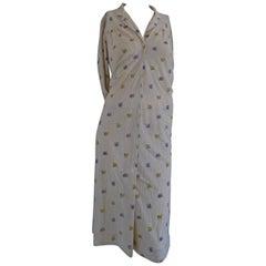 1980s Long Cream with flower Dress