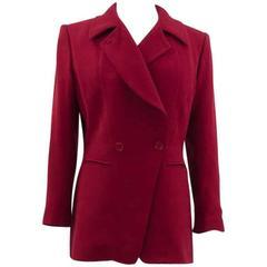 1980s Red Wool Crepe  Hermes Jacket