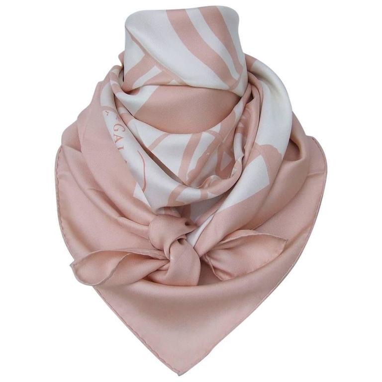 Hermes Silk Scarf Brides De Gala En Desordre Diatkine White Pink 90 cm
