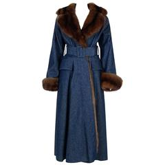 1970'S Galanos Couture Russian Sable-Fur & Denim Belted Maxi Princess Coat