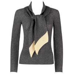 SONIA RYKIEL Chez Henri Bendel c.1960's Gray Wool Knit Scarf Pullover Sweater