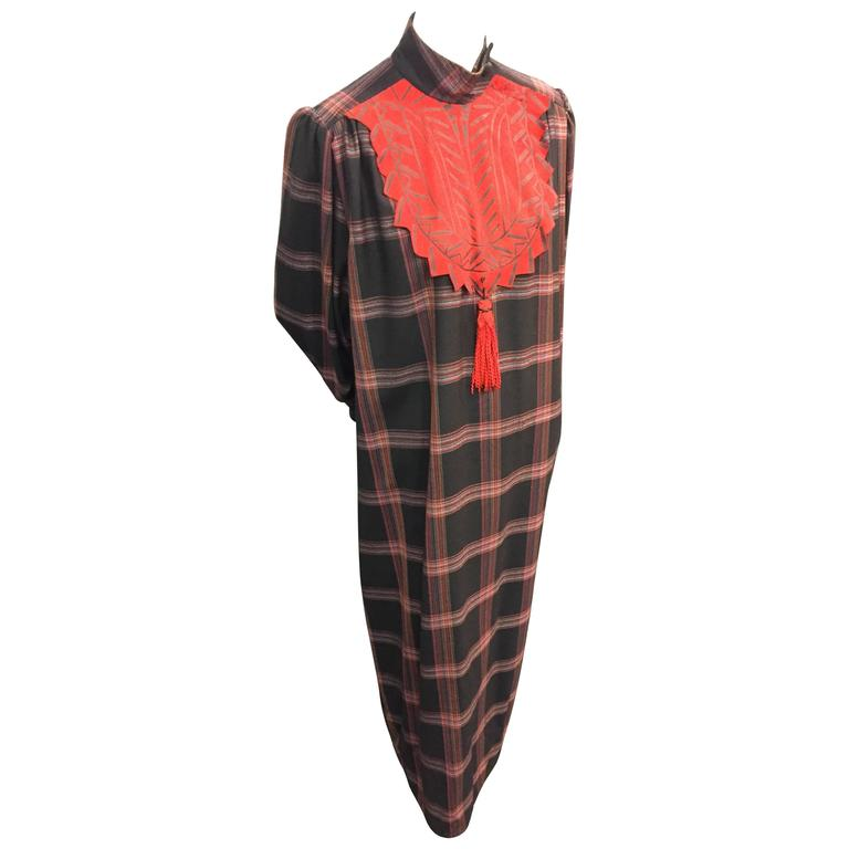 1980s Zandra Rhodes Tartan Plaid Wool Challis Caftan w Painted Suede Bib Front For Sale