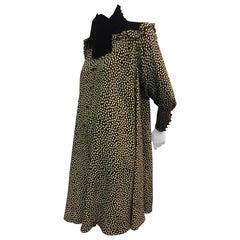 1980s Ungaro Velvet Yolked Crepe Print Black and White Smock Dress