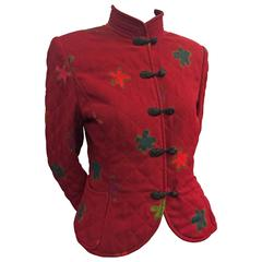 1980s Ungaro Maroon Quilted Wool Crepe Nehru Jacket Flower Print