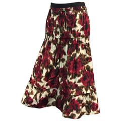 Derek Lam Floral Print Silk Moiré Gathered Skirt
