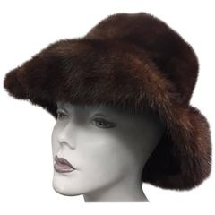 1960s Joseph Magnin Fedora Shaped Mink Hat