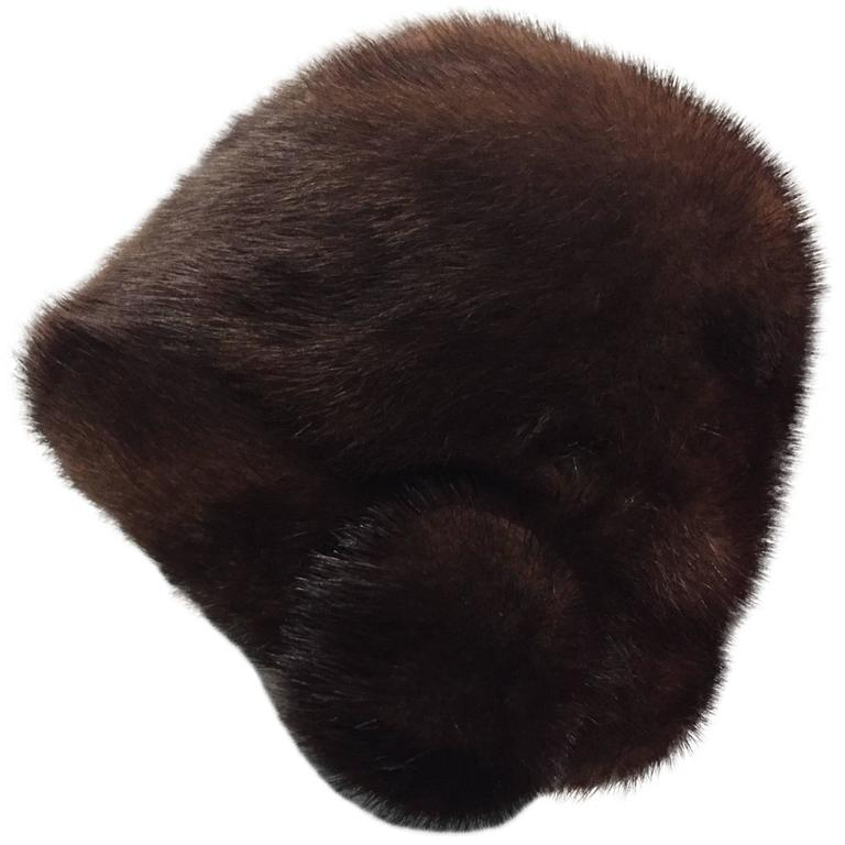 1960s Saks Fifth Avenue Natural Mink Cloche-Style Hat w Roll Brim