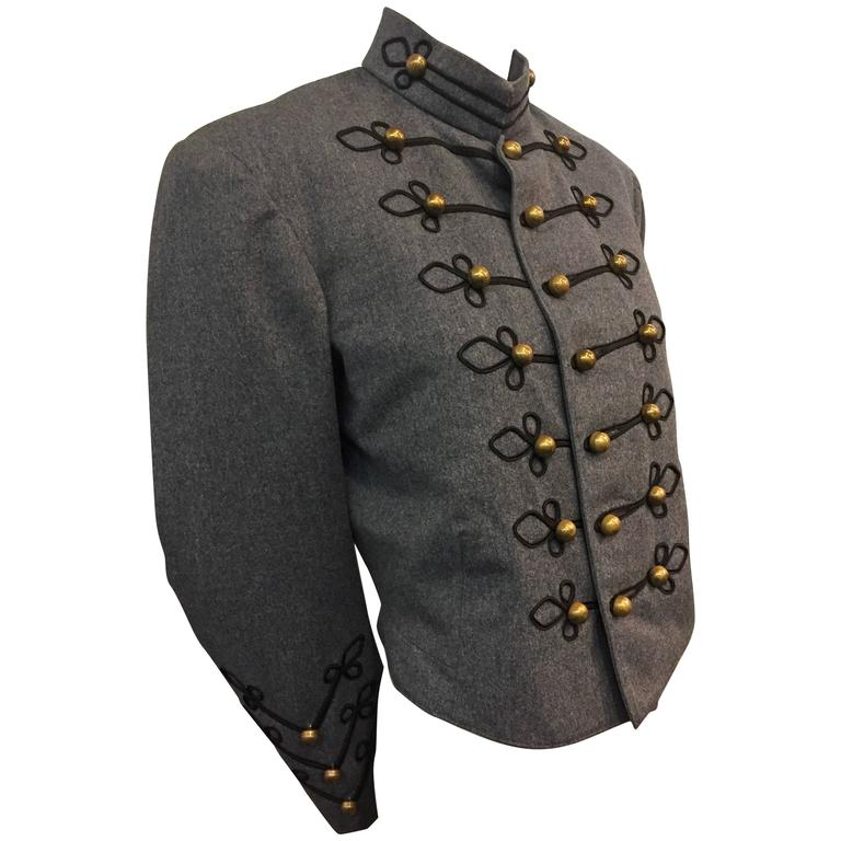 1950's Slate and Black Wool Military Band Jacket  1