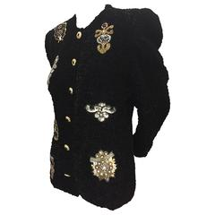 1980s Black Ruched Velvet Evening Jacket w Sequin and Bead Appliqué Medallions