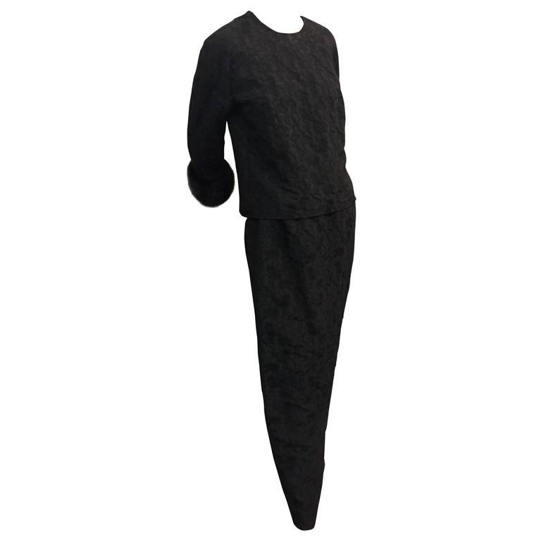 1960s Saks 2-Piece Black Silk Brocade Evening Column w Black Mink Cuffs
