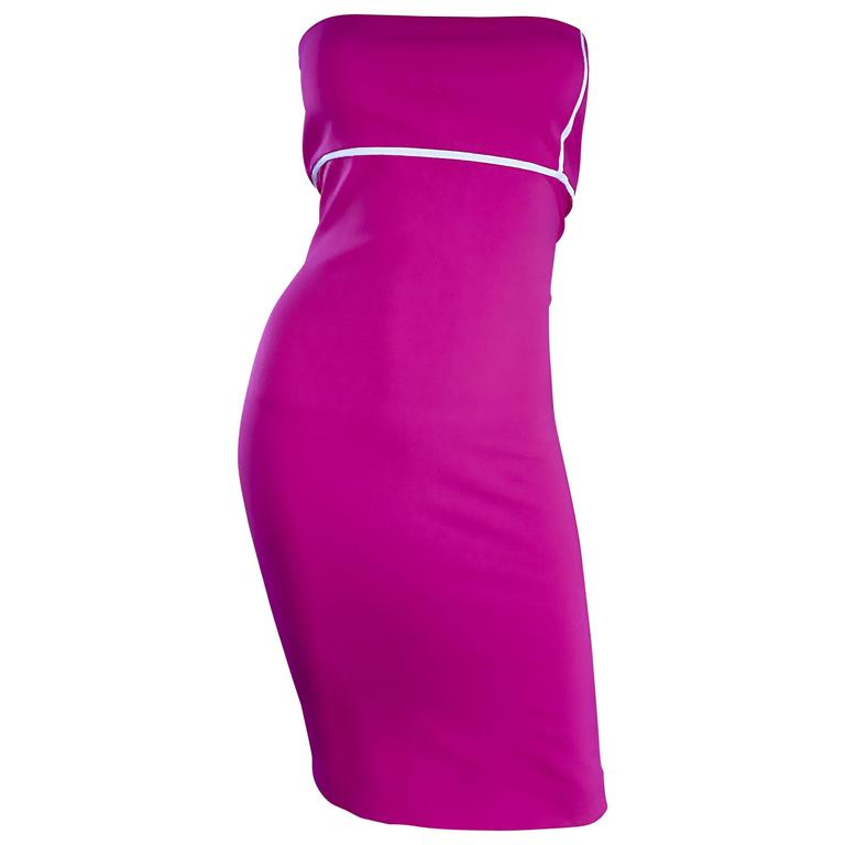 Sexy Vintage Gianni Versace Versus Hot Pink Fuchsia 90s Strapless Bodycon Dress