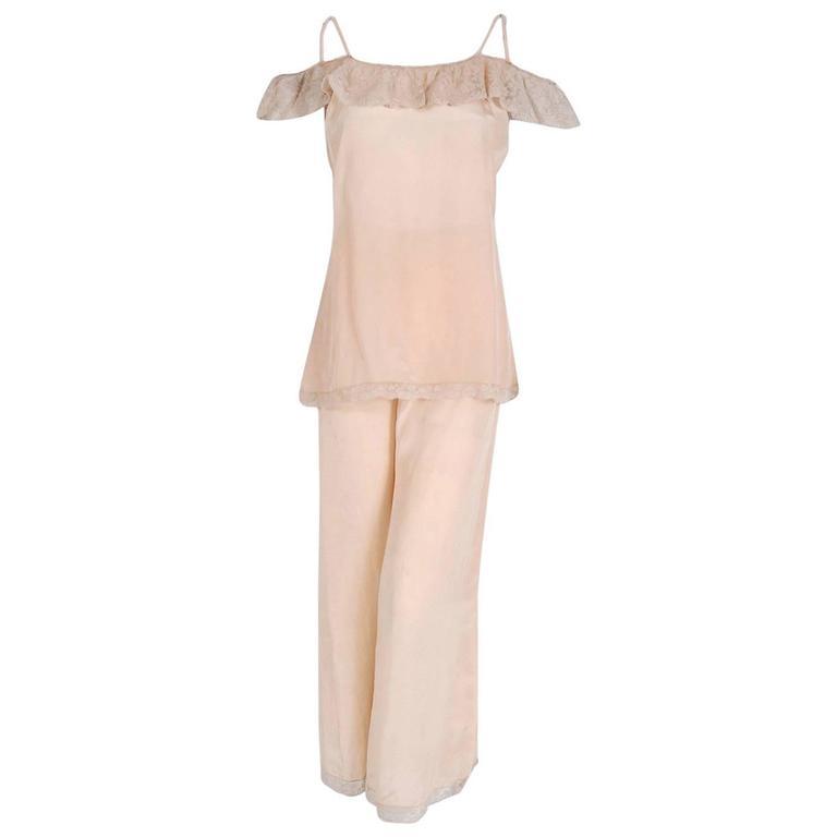 1930's Carolyn Paris Couture Pink Silk Lace Off-Shoulder Lounge Pants Ensemble