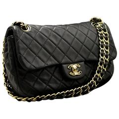 "CHANEL 11"" Color Stone CC Chain Shoulder Bag Black Quilted Flap"