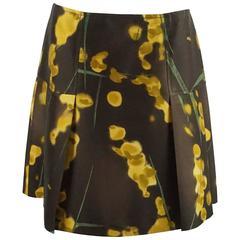 Oscar de la Renta Brown, Yellow, and Green Print Silk Skirt - 10