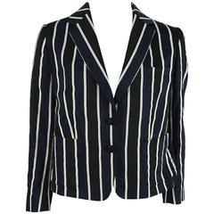 Dries Van Noten Navy and White Striped Silk Jacket - 40