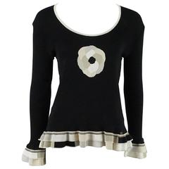 Chanel Black Cotton Sweater with Ruffles and Camellia - L