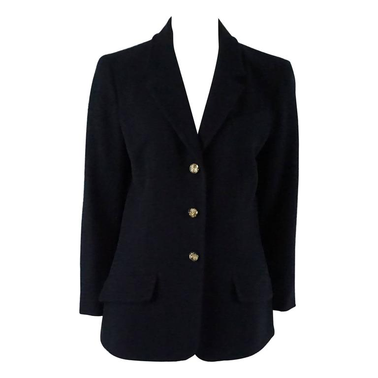 Chanel Navy Wool Blend Jacket - 42  1