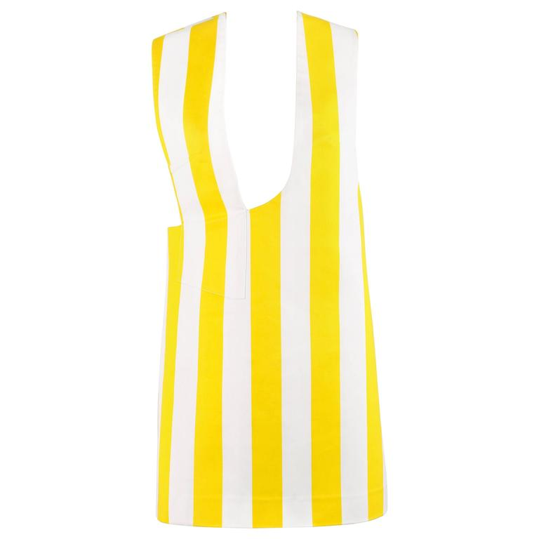 "JACQUEMUS S/S 2015 ""Les Parasols de Marseille"" Yellow Striped Asymmetrical Top 1"