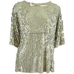Drome Metallic Laser Cut Leather Top - L