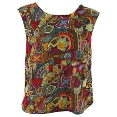 Dries Van Noten Multi Silk Embroidered and Beaded Blouse - 38