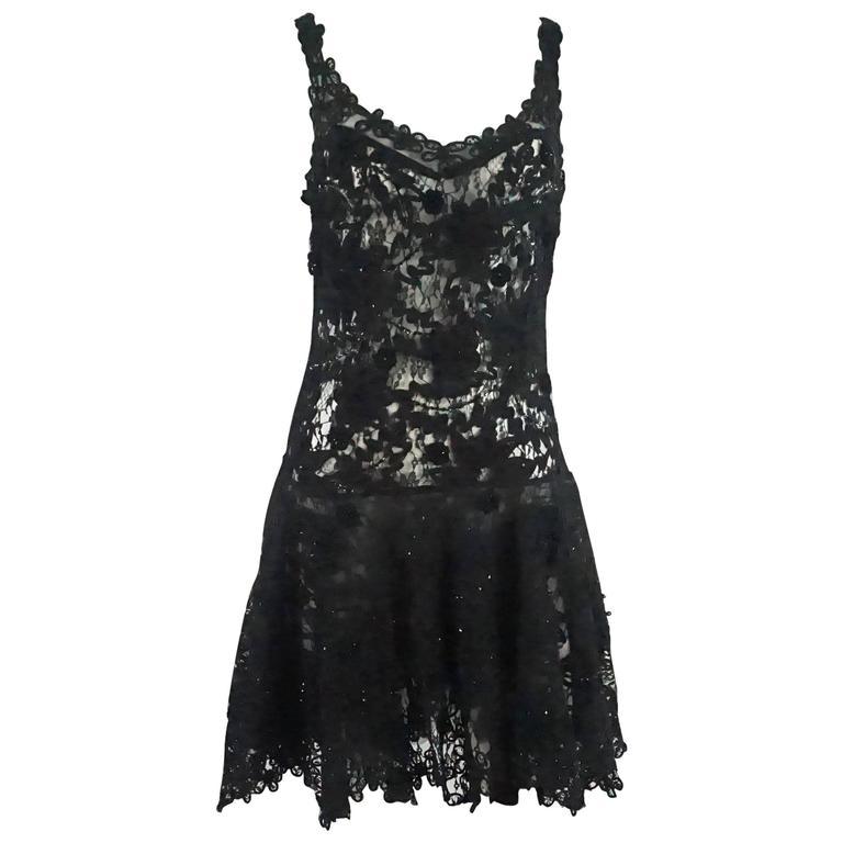 Vintage Black Lace Soutache Dress with Beading - M - 1960's