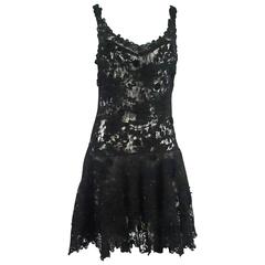 Vintage Black Lace Soutache Dress with Beading - M - 1960's